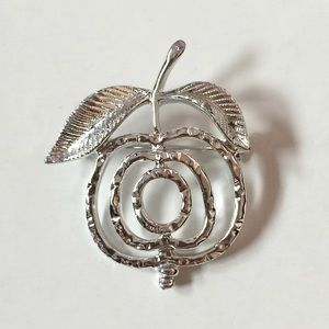 Sarah Coventry Vintage Apple Silver Tone Brooch